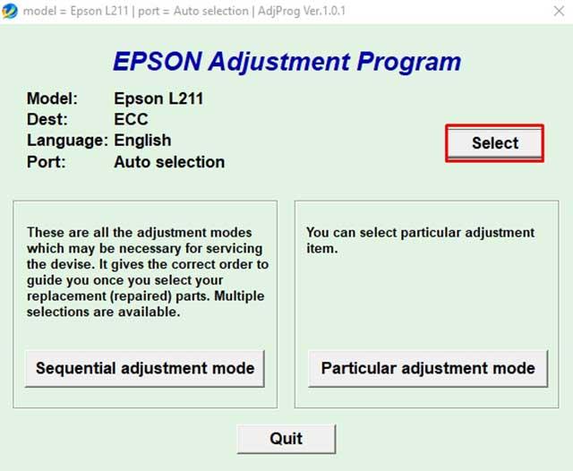 seleccionar impresora epson modelo L211