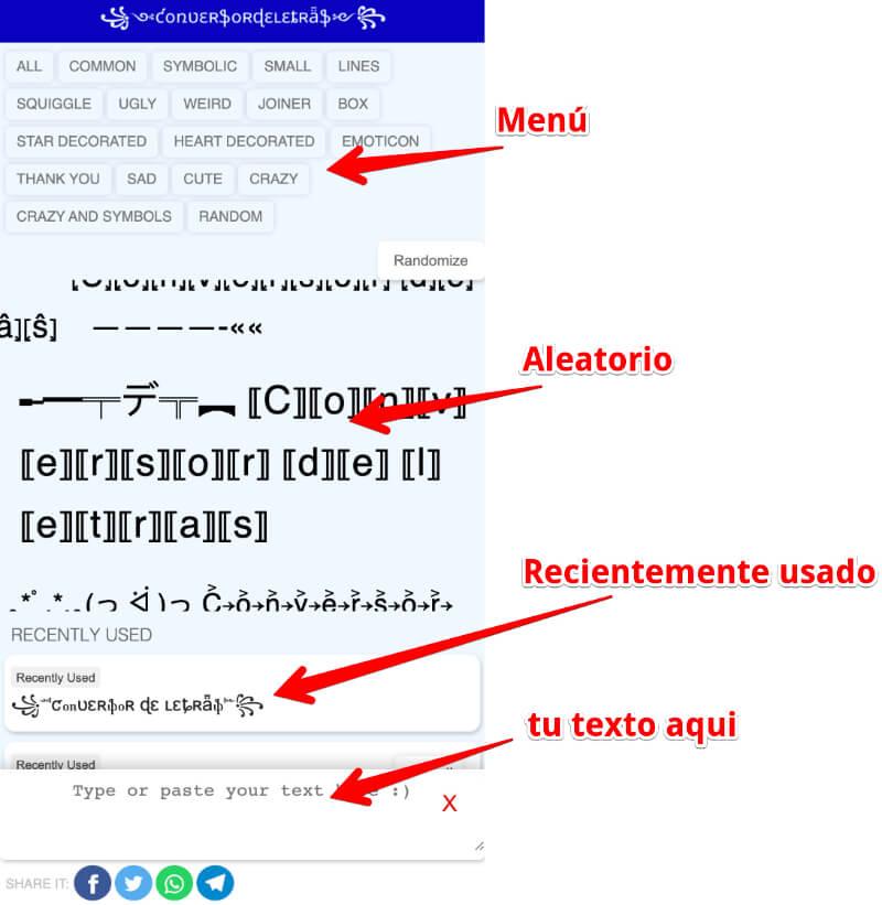 Cómo utilizar este conversor de letras