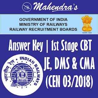 RRB | JE, DMS & CMA (CEN 03/2018) | 1st Stage CBT Answer Key