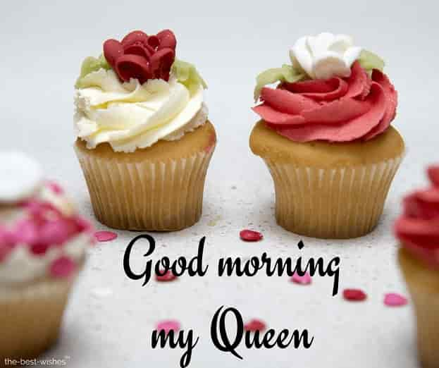 good morning my queen image with cupcake