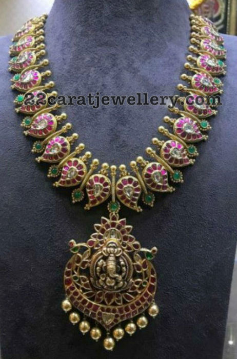 Mango Necklace with Ganesh Pendant