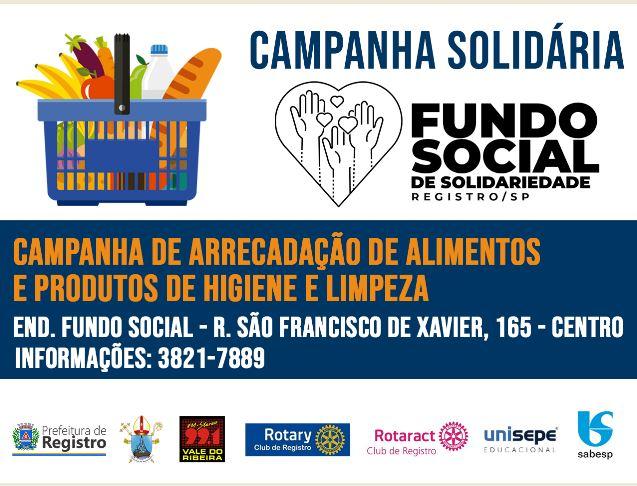 Fundo Social de Solidariedade promove campanha de arrecadação de alimentos e produtos de limpeza e higiene