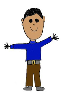 A stick boy with blue shirt, brown paints and dark hair waving his hands.