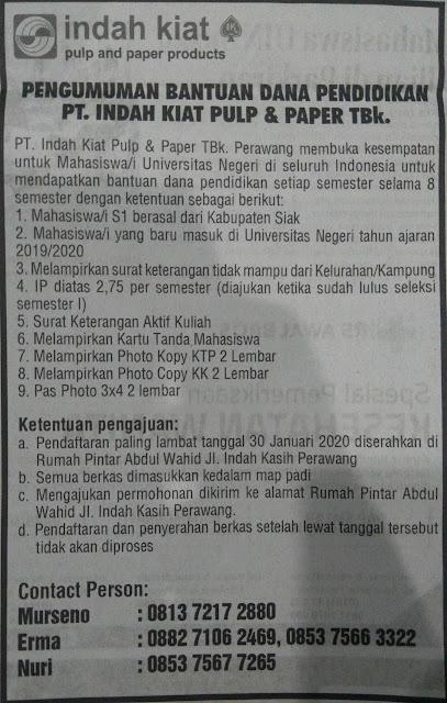 Beasiswa Pendidikan PT Indah Kiat Pulp and Paper II Deadline 30 Januari 2020