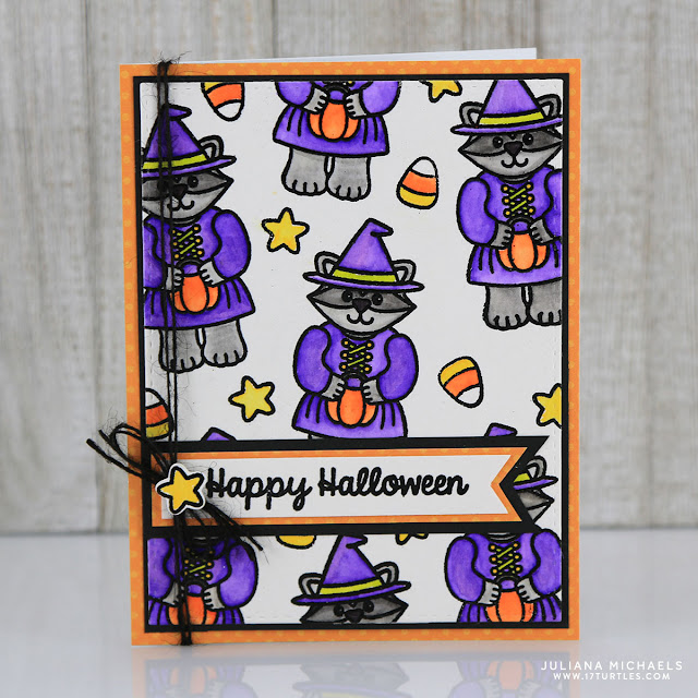 Heat Embossing and Watercoloring Halloween Card by Juliana Michaels featuring Sunny Studio Halloween Cuties Stamps and Dies