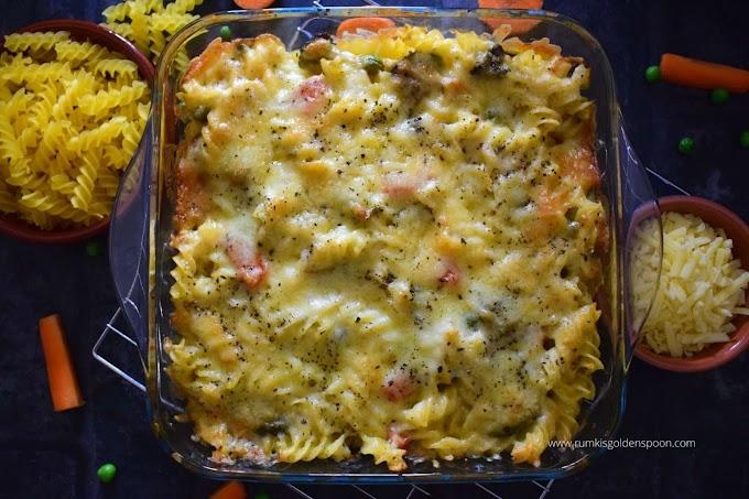 Pasta bake with veggies | pasta bake with white sauce | How to make baked pasta