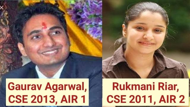 Rukmani Riar, UPSC CSE-2011, AIR-2 | Gaurav Agarwal, CSE-2013 AIR-1 | गौरव अग्रवाल स्नातक में असफल रहे।  2014 बैच के आईएएस अधिकारी गौरव अग्रवाल ने CSE-2013 में एआईआर -1 हासिल किया