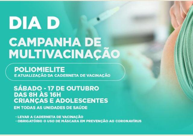 Sábado tem Dia D da Campanha de Vacinação contra a poliomielite e atualização da caderneta em Cajati