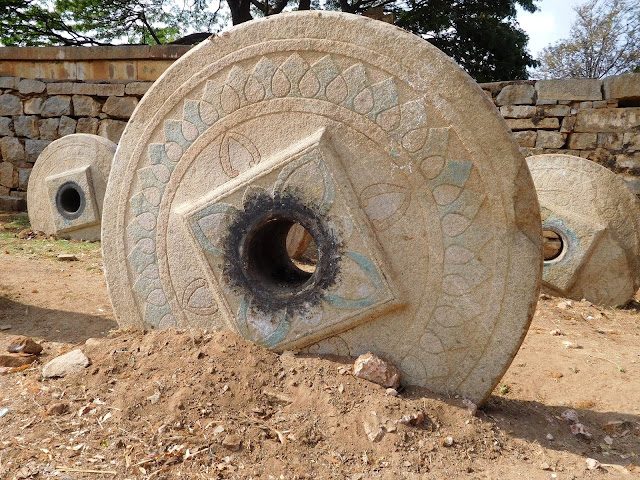 Large wheels of the unused temple chariot, Bhoga Nandeeshwara Temple, Karnataka