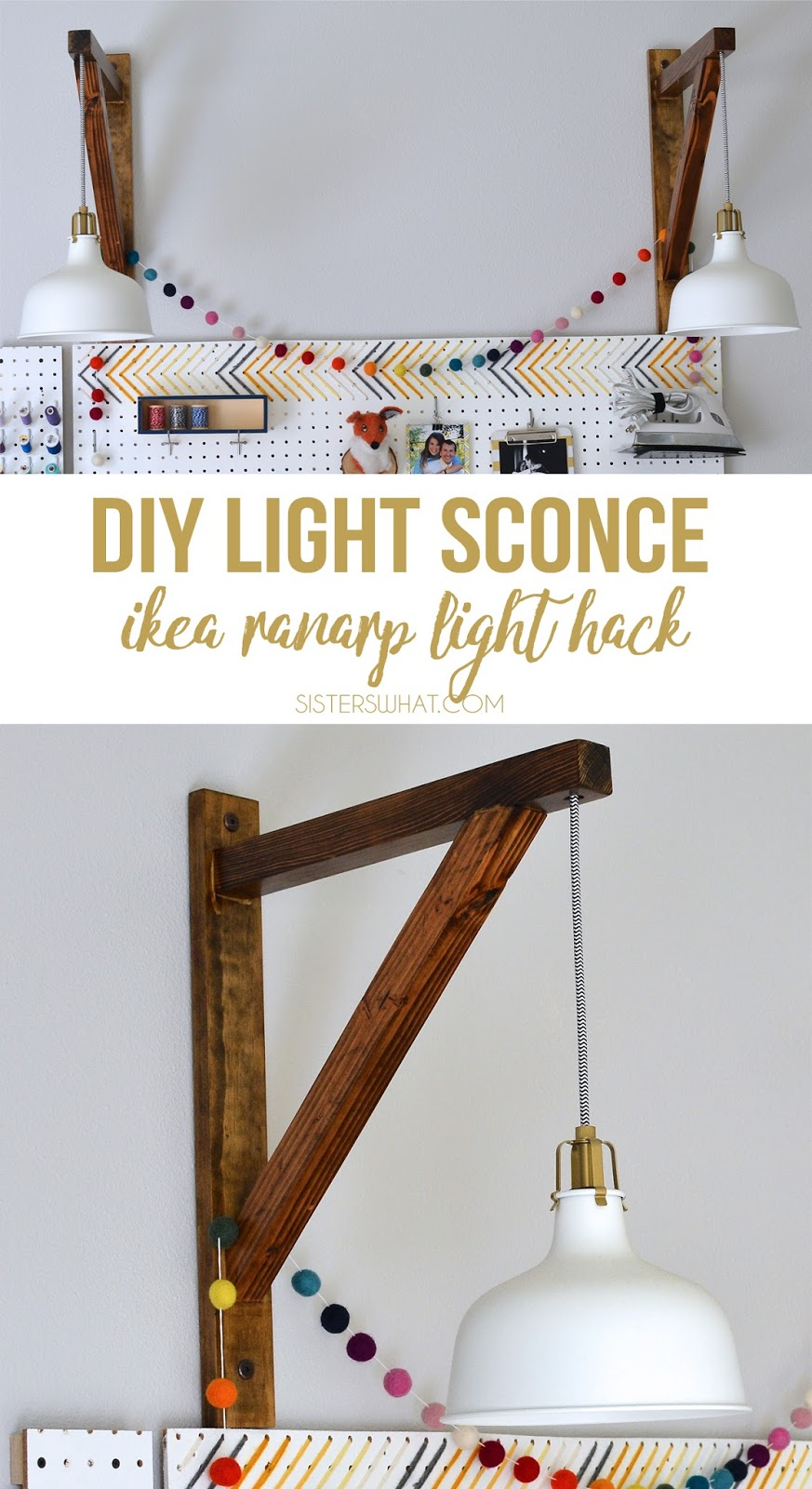 A DIY Pendant Light Sconce using an IKEA ranarp lamp