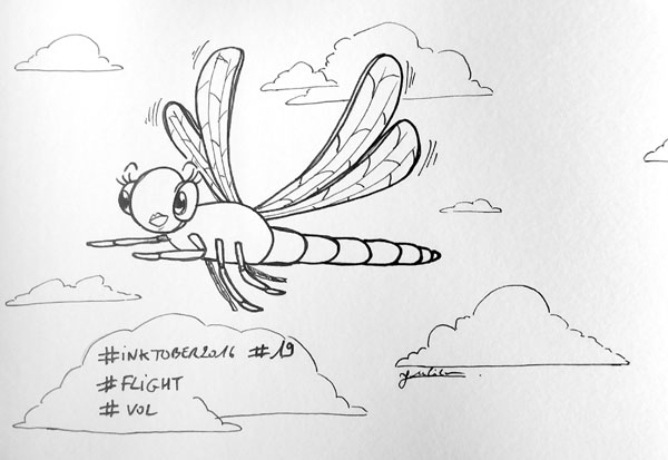 Inktober 2016 - Jour 19 - Vol (Flight) - libellule