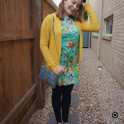 awayfromtheblue Instagram mustard cardigan green floral tee dress with leggings converse winter