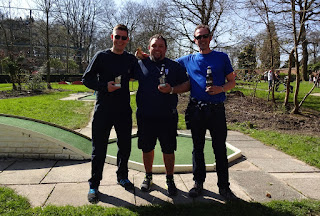 The top-three players at the Great Northern Minigolf Open