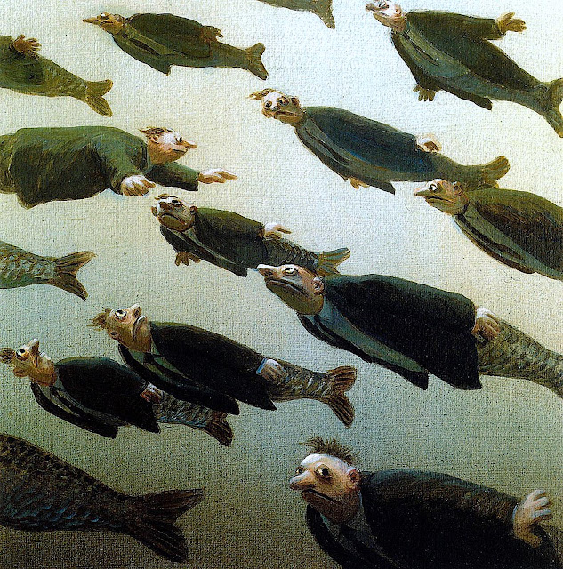 Michael Sowa, an underwat school of swimming men-fish with one contrarian
