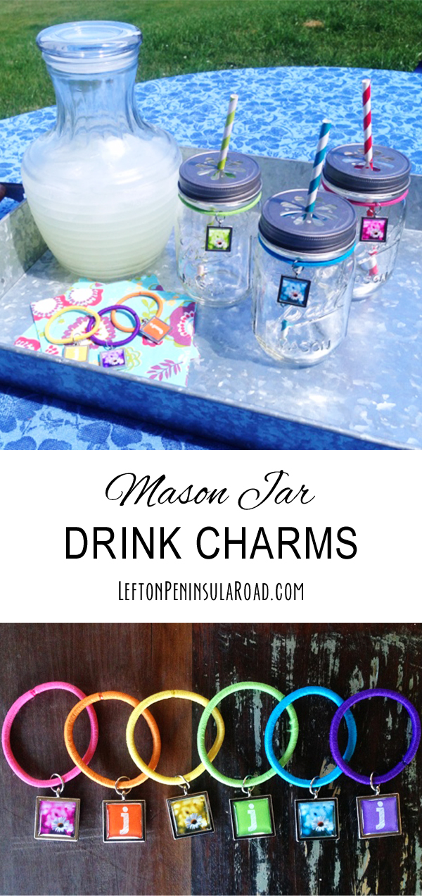 DIY a set of inexpensive drink charms for your next picnic or BBQ! Perfect size for Mason Jar glasses.
