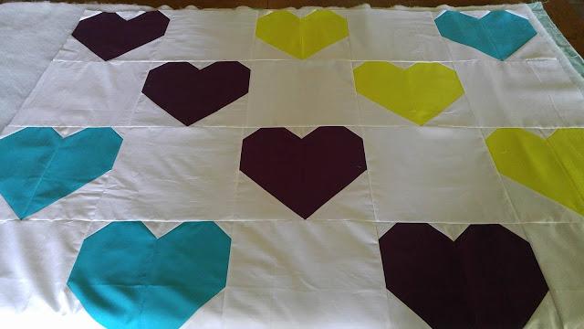 Modern heart quilt for Orlando