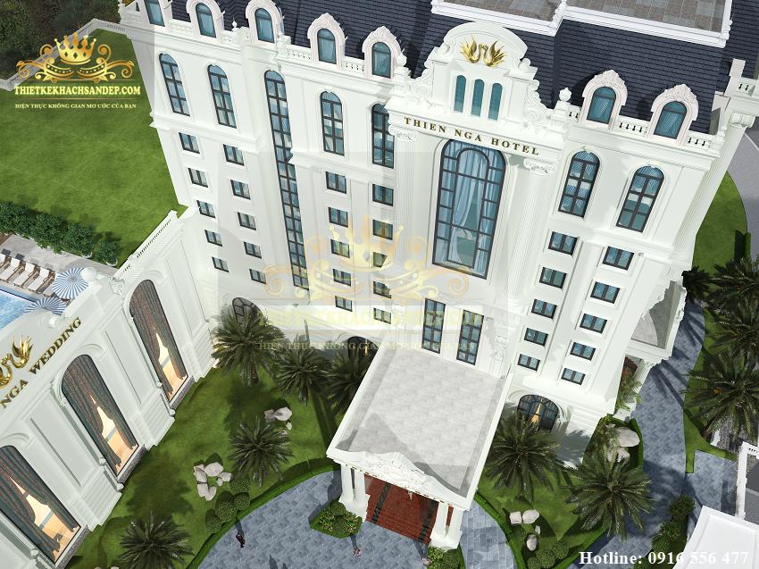 Hình ảnh: Phối cảnh từ trên cao xuống thiết kế khách sạn 4 sao tại Lào Cai đẹp mỹ mãn.