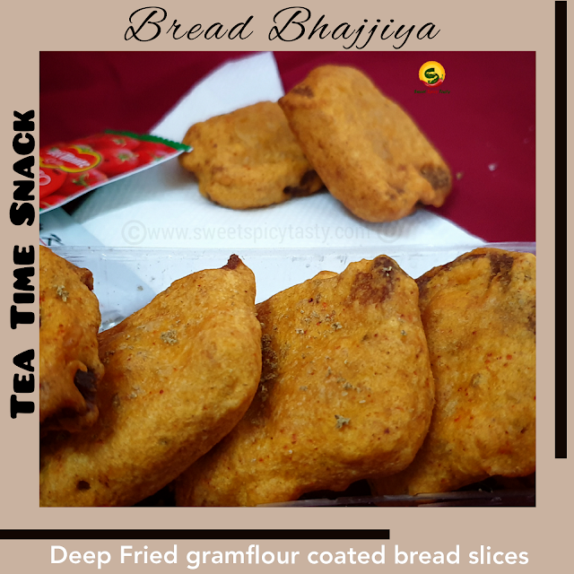 Bread Pakoras or bread bhajiyas are very famous as street food special across the northern part of India.  Bread slices are dipped in gramflour batter which is spiced using red chilli powder , finely chopped chillies and the slices are deep fried in oil.  Bread bhajji, bread pakora , ब्रेड भजिया   ,bread pakoda, how to make crisp bread bhajiya at home