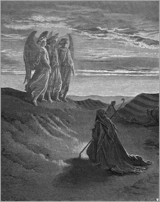 Abraham and the Three Angels (engraving by Gustave Doré from the 1865 La Sainte Bible)