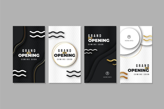 Grand re-opening instagram stories Free Vector Business