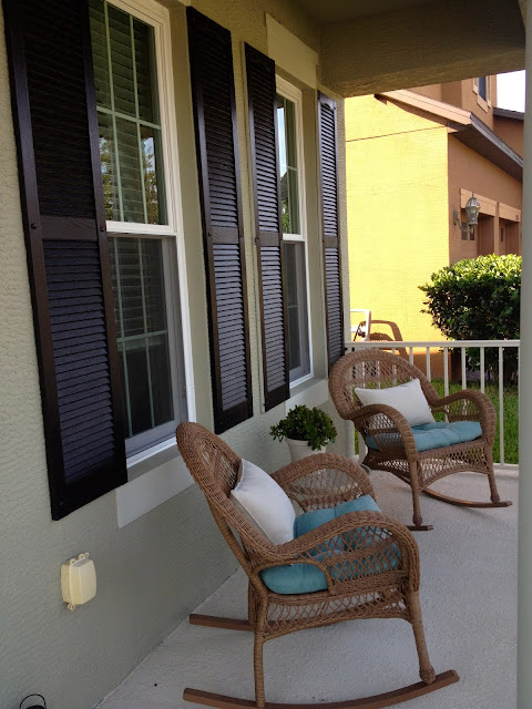 Front Porch with Rocking Chairs. Shutters: Mysterious by Benjamin Moore