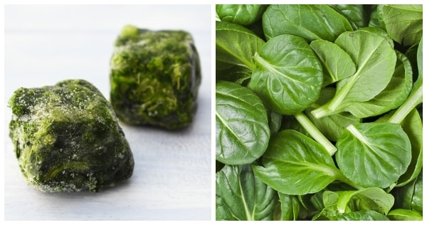 Cubes of frozen spinach and bundle of fresh spinach