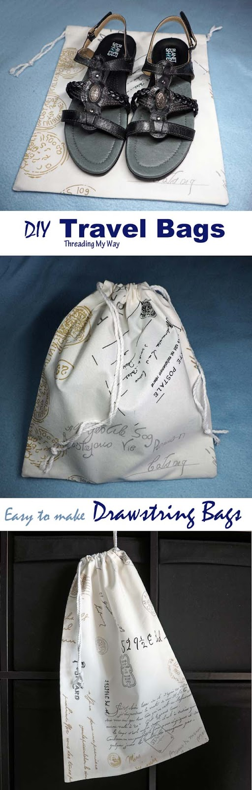Learn how to make travel storage bags - drawstring bag tutorial - Threading My Way