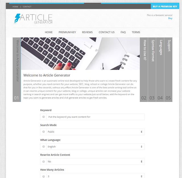 Site gerador de artigos