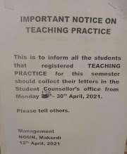 Important Notice To Teaching Practice