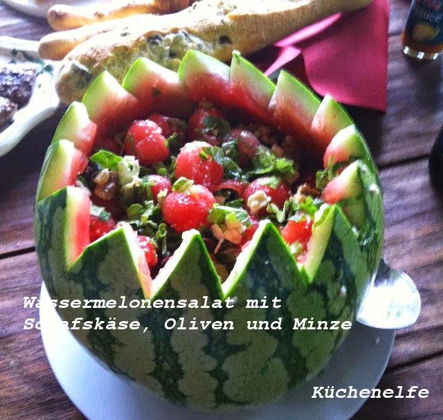 wassermelonensalat mit feta käse
