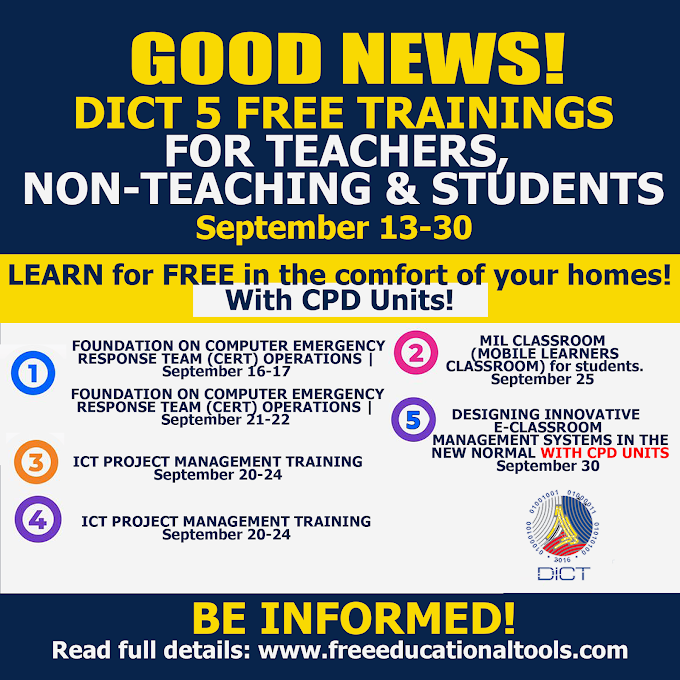 DICT 5 Free Courses ICT Trainings for Teachers, Non-Teaching Personnel and Students | September 2021 | Be Informed!