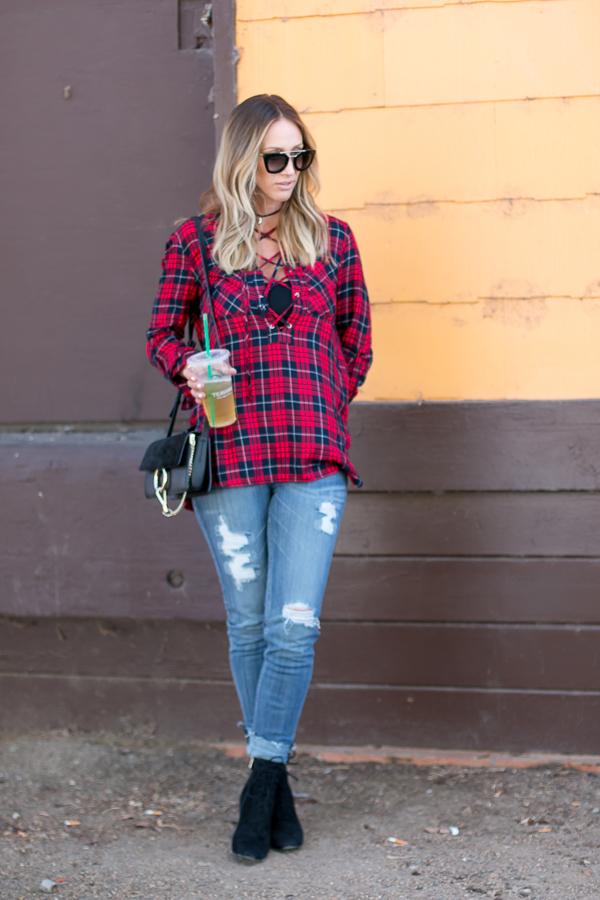 comfortable distressed denim fall jeans