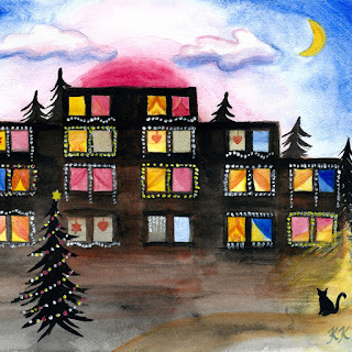 Christmas lights in windows acrylic watercolor painting