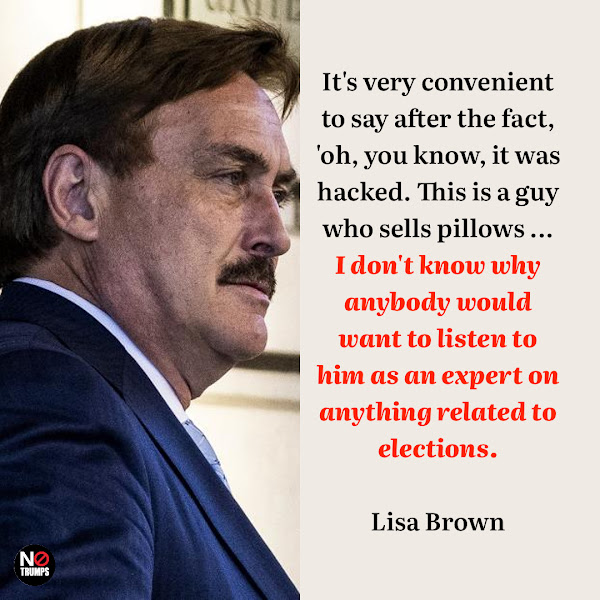 It's very convenient to say after the fact, 'oh, you know, it was hacked. This is a guy who sells pillows ... I don't know why anybody would want to listen to him as an expert on anything related to elections. — Lisa Brown, Oakland County, a Detroit suburb, county clerk