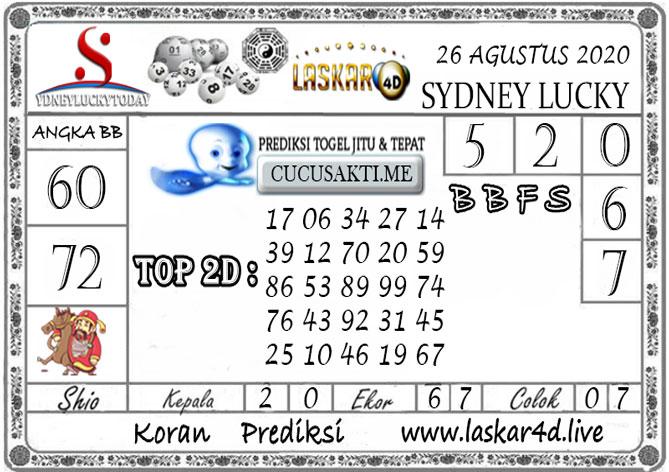 Prediksi Sydney Lucky Today LASKAR4D 26 AGUSTUS 2020
