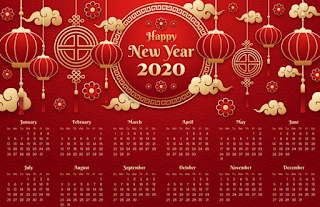 kalender 2020 tema cina, kalender 2020, kalender 2020 cina, kalender tema cina, kalender 2020 merah, kalender 2020 tema lampion, kalender 2020 background merah