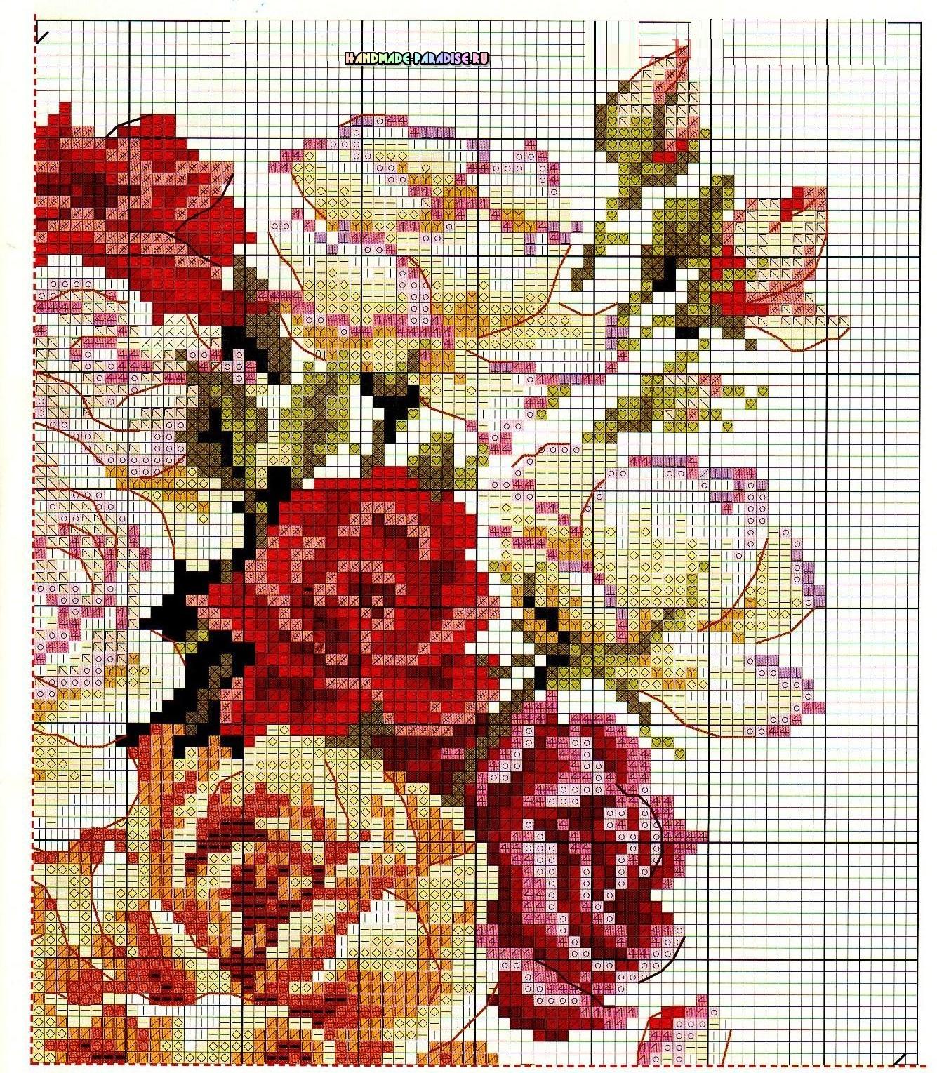 Схемы вышивки «Букет роз в вазе» (3)