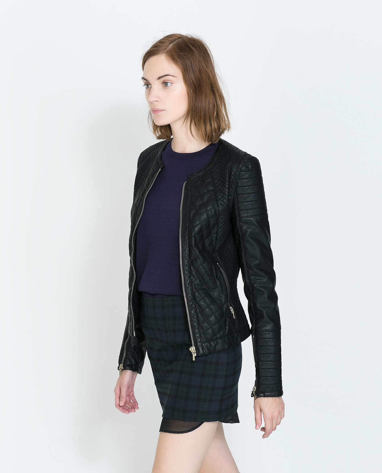 sevns look runs boutique medium xsmall sizes black jacket small faux zipper poly peplum top front quilted leather quilt spandex product