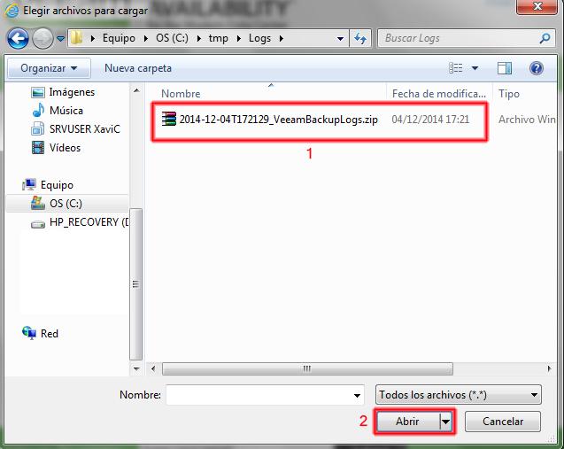 Abriremos el archivo de exportación de logs.