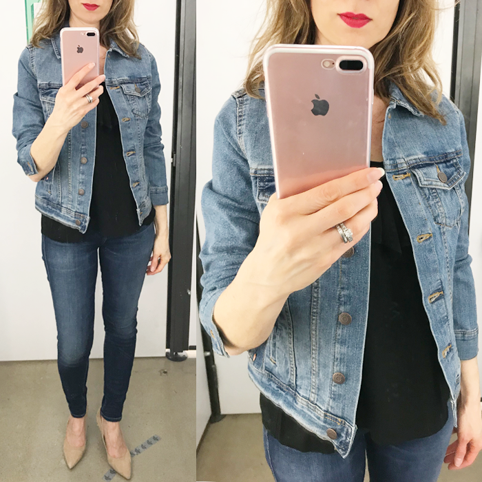 try on session old navy denim jacket