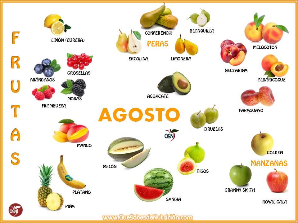 QSN: Verduras y frutas del mes de agosto