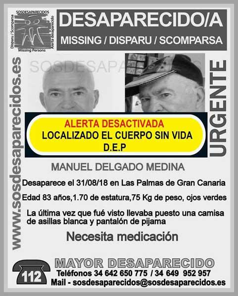 Manuel Delgado Medina, hombre de 83 años que se encontraba como desaparecido, hallado muerto