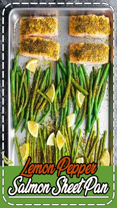 Lemon pepper salmon sheet pan with green beans, asparagus and lemon dill yogurt is ready in under 25 minutes, and works for meal prep! Low carb & gluten-free. #mealprep #lowcarb #salmon #lemon #dryrub #asparagus #sheetpan #sweetpeasandsaffron