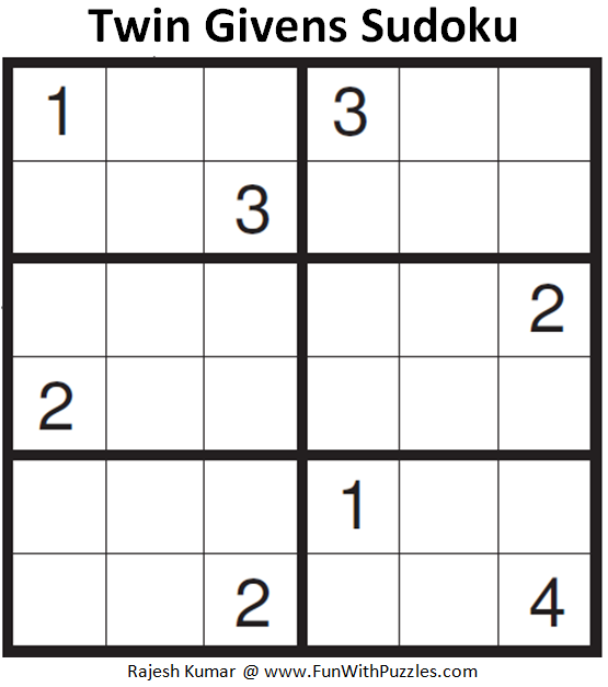 Twin Givens Sudoku (Mini Sudoku Series #85)
