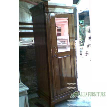 lemari pakaian kayu jati 1 pintu kaca