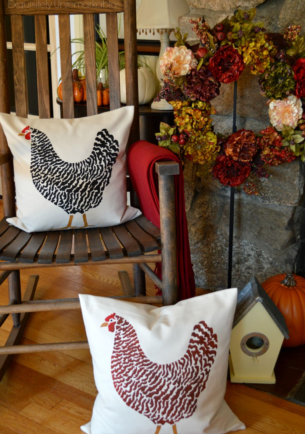 Chicken pillows on floor and rocking chair