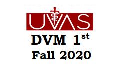 UVAS DVM 1st Merit List fall 2020
