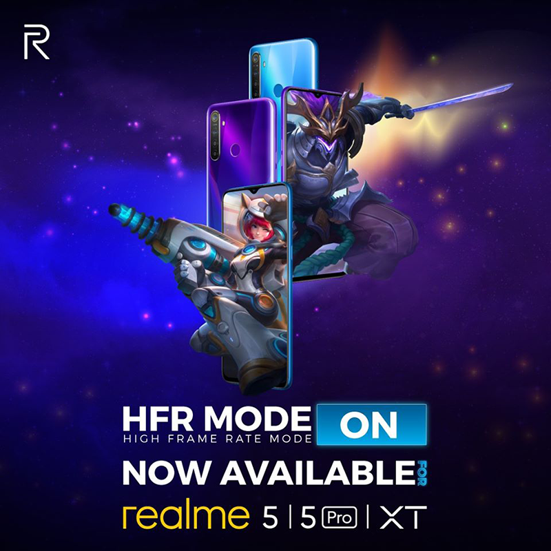 HFR mode now available on realme 5, 5 Pro, and XT!
