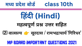 class 11th hindi important questions mp board hindi question answer
