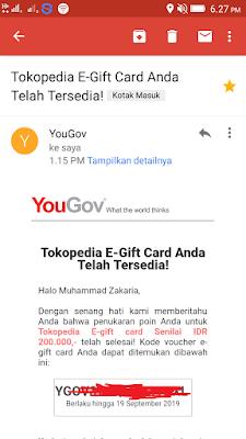 Bukti Pembayaran Voucher Tokopedia dari Aplikasi Penghasil uang Gratis Yougov